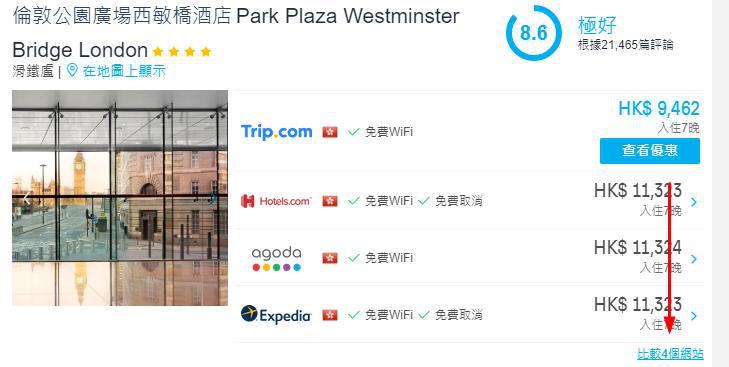 Hotelscombine酒店優惠碼比較